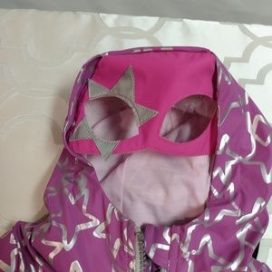 Cat and Jack rain coat 18M  purple with silver sta